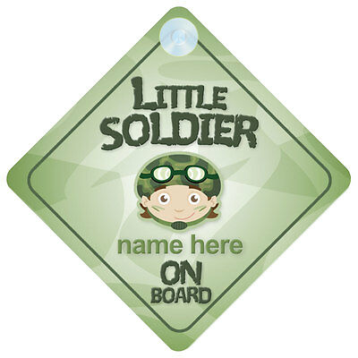 Little Soldier On Board Personalised Baby Boy Car Sign