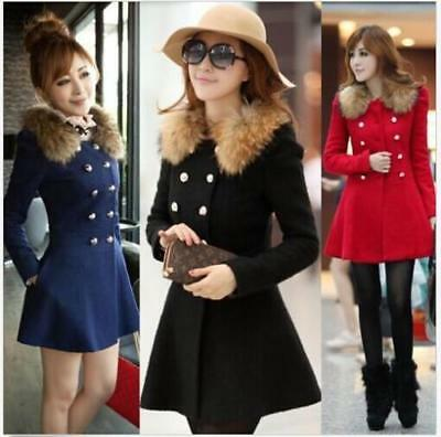 Popular Women's Wool Fur Collar Trench Coat Double Breasted Jacket Overcoat - LG