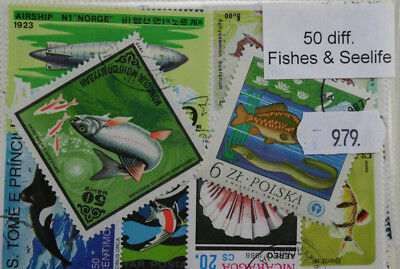 Fish and Sealife. 50 stamps, all different (979)