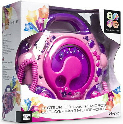 Bigben tragbarer CD Player CD47 Kids pink Kinder 2 Mikrofone Karaoke AU303261