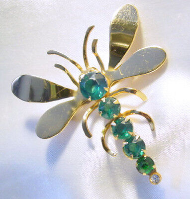 Vintage Early CORO TEAL RHINESTONE DRAGONFLY PIN/Brooch,FJT