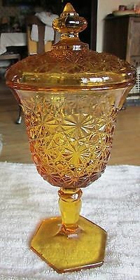 """VINTAGE AMBER PRESSED GLASS 8-3/4"""" TALL BUTTONS & BOWS FTD CANDY JAR"""