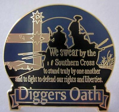 Diggers Oath Pin Badge Southern Cross Eureka Flag Stockade Australian