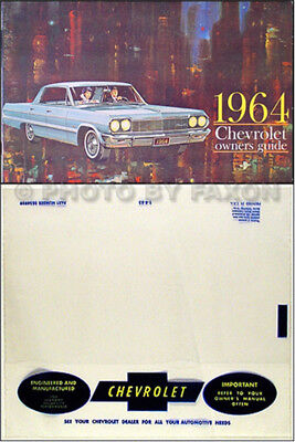 1964 Chevy Owner Manual with Envelope Bel Air SS Impala Biscayne Chevrolet Car