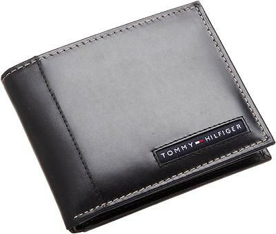 NEW TOMMY HILFIGER PASSCASE CREDIT CARD BILLFOLD ID MEN'S BLACK LEATHER WALLET