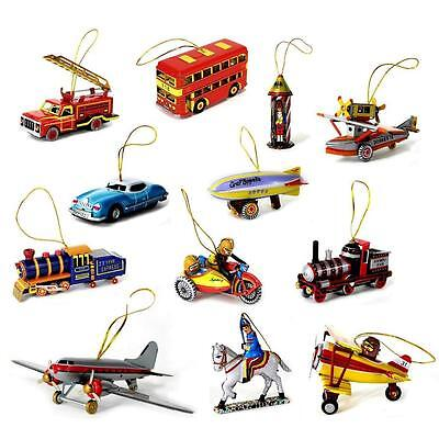 TIN TOY CHRISTMAS TREE ORNAMENT 12 Designs NEW Vintage Style Metal Collectible