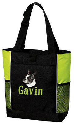 Boston Terrier Embroidered Panel Tote