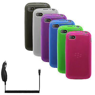TPU Flex-Gel Rubber Silicone Case / Skin / Cover + Car Charger for BlackBerry Q5