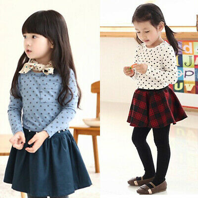 Toddler Baby Girls Polka Dot Long Sleeve T-shirt Tops Blouse Casual Cotton Shirt
