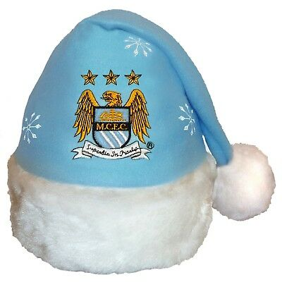 Manchester City FC Official Xmas Gift Christmas Santa Beanie Hat
