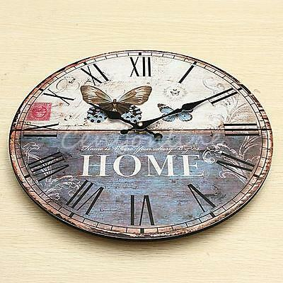 Large Wood Wall Clock Butterfly Vintage Rustic Shabby Chic Home Office Decor Art