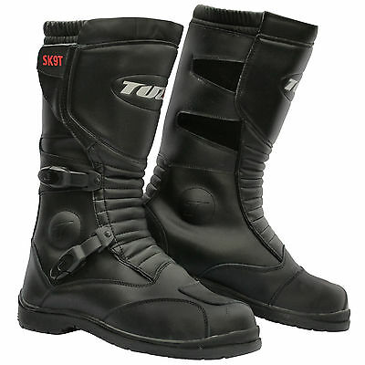 Motorbike SK9T Motorcycle Touring Adventure Trail Black Leather Waterproof Boots