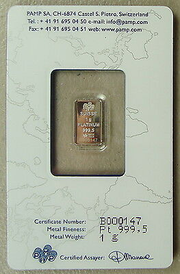 ~ Pamp Suisse 1 Gram .9995 Platinum Bullion Bar ~