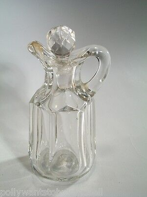 Vintage 1940's Hand Blown Cruet Faceted Stopper 6 Sided Loop Handle Hand Snipped