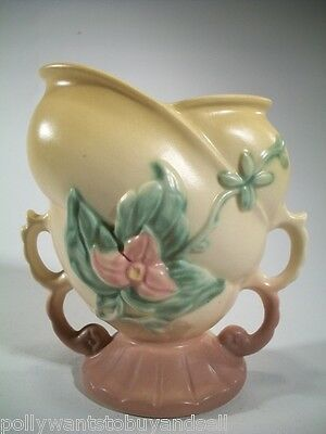 Vintage Hull Pottery Magnolia Wildflower w/ Double Handle W-5-6 1/2 Flaw