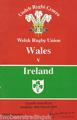 WALES v IRELAND (Rugby Union Five Nations 16.3.1985) Programme