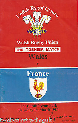 WALES v FRANCE (Rugby Union Five Nations 1.3.1986) Programme