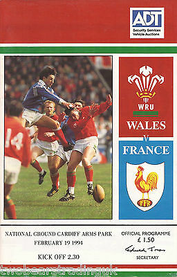 WALES v FRANCE (Rugby Union Five Nations 19.2.1994) Programme
