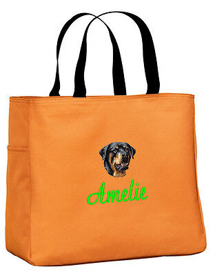 Rottweiler embroidered essential tote bag 18 COLORS