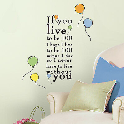 New WINNIE THE POOH Live to be 100 WALL DECALS Nursery Stickers Disney Decor