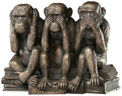 Three Truths of Man Monkey Hear See Speak No Evil Victorian Replica Statue