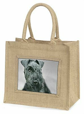 Kerry Blue Terrier Dog Large Natural Jute Shopping Bag Birthday Gift, AD-KB1BLN