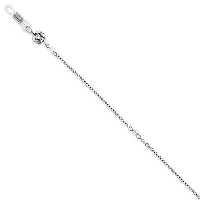 """Clear Crystal Eyeglass Holder Chain 30"""" Silver Tone 1928 Boutique"""