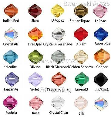 24 Authentic Swarovski Xilion Bicone Crystal Beads 4mm #5328-U Pick Color