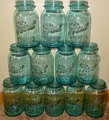 12 OLD BLUE GLASS BALL MASON JARS NUMBER 0 1 2 3 4 5 6 7 8 9 10 11 QUART CANNING