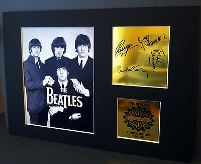 The Beatles  mounted quality signed pre print 12 x  8 in gold limited edition