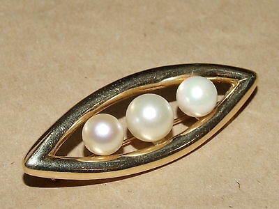 Vintage 14k Gold & Genuine Pearl Eye Shaped Pin Brooch 7.5 gr 1 1/8""