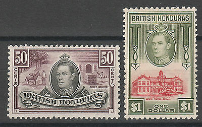 British Honduras 1938 Kgvi Pictorial 50C And $1