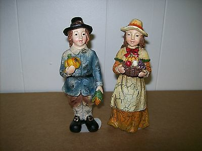 Pilgrim Boy and Girl Figures (Sold as Set) - Vintage Style - Distressed Resin