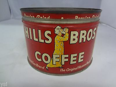 VINTAGE HILL'S BROTHERS COFFEE TIN ADVERTISING COLLECTIBLE W/LID GRAPHICS  G-329