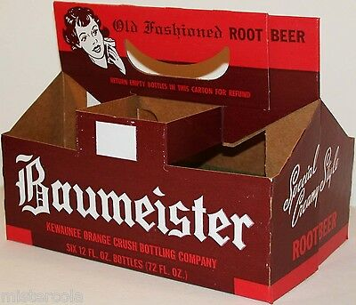 Vintage soda pop bottle carton BAUMEISTER ROOT BEER with woman new old stock