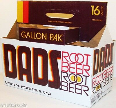 Vintage soda pop bottle carton DADS ROOT BEER 8 pack Gallon Pak new old stock