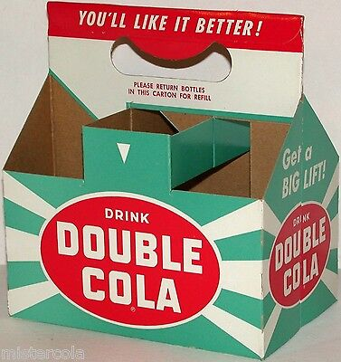 Vintage soda pop bottle carton DOUBLE COLA Get a Big Lift slogan unused n-mint+