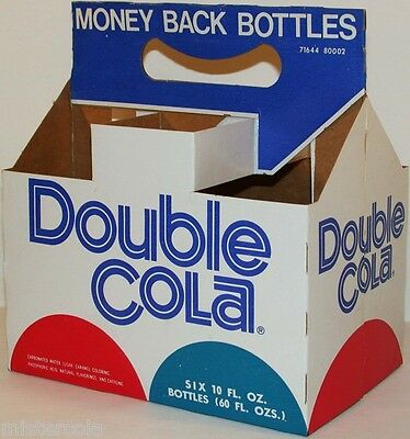 Vintage soda pop bottle carton DOUBLE COLA Money Back Bottles new old stock nrmt