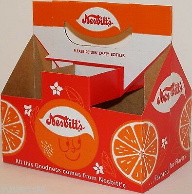 Vintage soda pop bottle carton NESBITTS with orange face unused new old stock