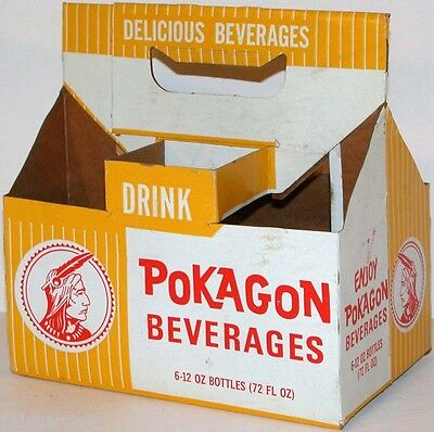 Vintage soda pop bottle carton POKAGON BEVERAGES 12oz picturing an indian exc+