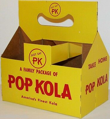 Vintage soda pop bottle carton POP KOLA Just say PK unused new old stock n-mint+