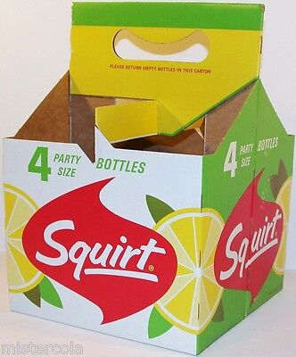 Vintage soda pop bottle carton SQUIRT 1962 4 pack 28oz size new old stock exc++