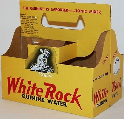 Vintage soda pop bottle carton WHITE ROCK Psyche pictured new old stock n-mint+