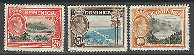 Dominica 1938 Kgvi Pictorial 2/6 5/- And 10/- Top 3 Vals