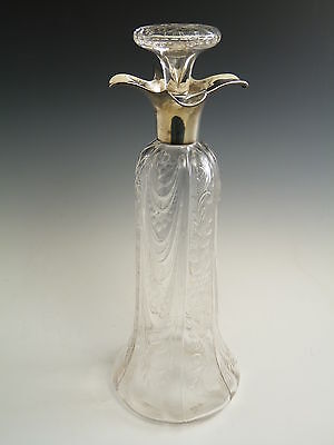 William Comyns - Silver Top - DECANTER - Intaglio cut with Flowers