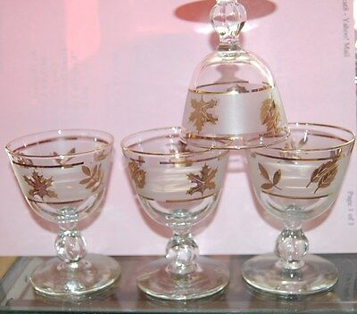 Lovely Set of 4 Libbey Golden Foliage 4 ounce Liquor Cocktail Cordial Glasses
