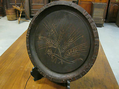 """Antique Bavarian Carved Wood Tray signed Oberammergau Wheat Carved 13.5"""" round"""