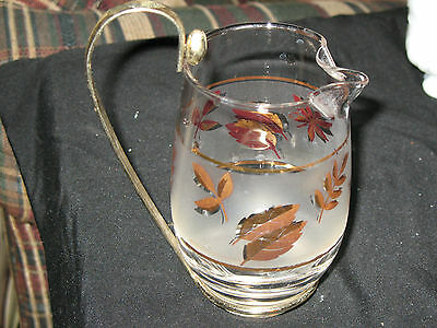 Rare Libbey Glass Syrup Pitcher-Golden Oak Leaf-Great Condition