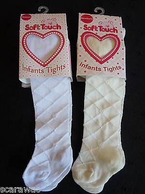BABY GIRL,SOFT TOUCH TIGHTS, DIAMOND PATTERN,**LAST PAIR LEFT**WHITE 3-6 m. ONLY