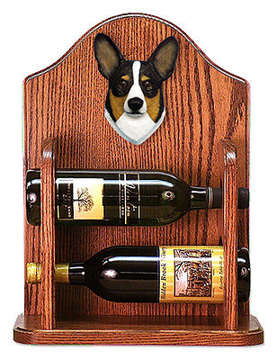 Welsh Corgi Pembroke Dog Wood Wine Rack Bottle Holder Figure Tri - 2 Bottles ...